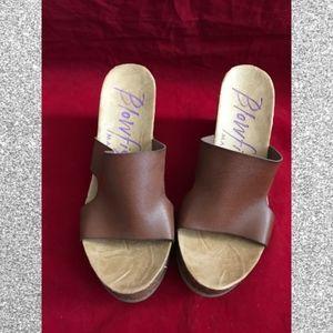 Blowfish Malibu Wedge 9.5 Brown Sandals